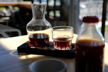 on the table is a jar of alternative coffee and a glass. Hario v60. concept filter Coffee Stok Fotoğraf