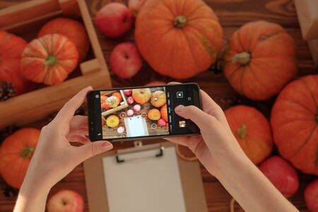 Smartphone food photography of vegetarian lunch or dinner. Woman hands taking phone photo of pumpkins in trendy style for social media or blogging.