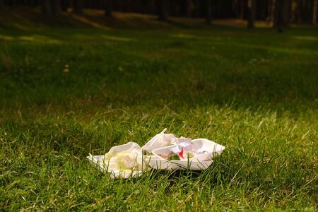 Various plastic trash remains in countryside green meadow. People left trash after the picnic. Environmental pollution. Ecological catastrophe Banco de Imagens