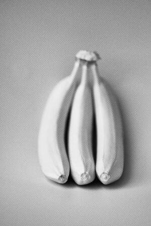 Bananas on a grey background. Minimal style. Minimal style. gmo concept. GMO.