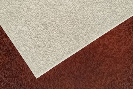 White and brown leather texture. close-up. design. Stock Photo