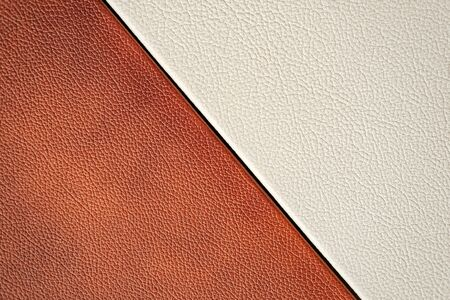 White and brown leather texture. close-up. design. Foto de archivo