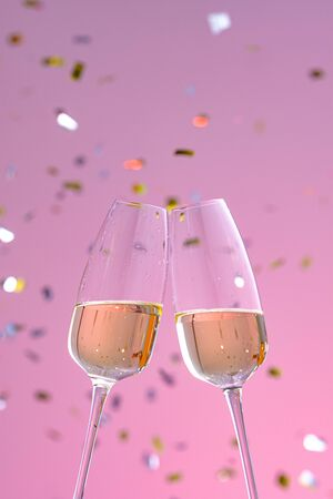 two glasses with champagne on a pink background with confetti. sparkling wine. concept of holiday, new year, wedding, birthday, christmas. Stockfoto