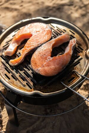 Grilled salmon steaks in the open air. Fish on fire. Camping. Picnic