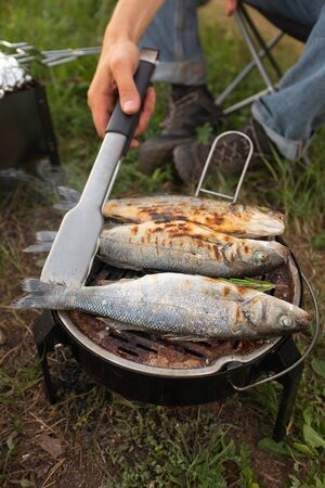 The process of cooking fish with rosemary and spices. Camping. cooking fish