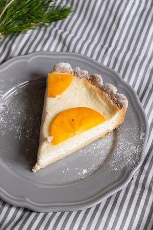 curd dessert with persimmon. Thanksgiving concept. Halloween baking