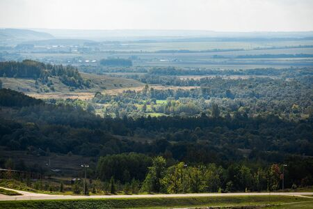 Russian nature. forests and fields stretching to the horizon. Aerial photography. beautiful nature