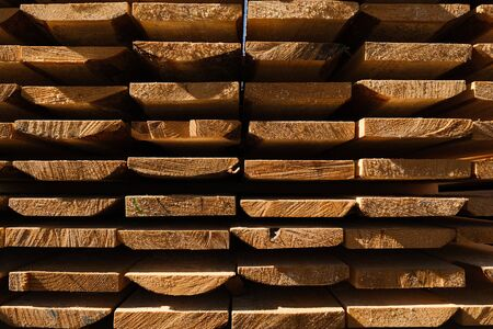 Wood factory stock and lumber board with nature business export. Wood timber in the sawmill. Wood background Stockfoto