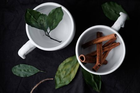 beautiful flat lay. cinnamon sticks and green leaves in a white cup on a dark background. Top view.