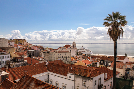 A view to the East part of the Tejo River, Lisbon Stock Photo