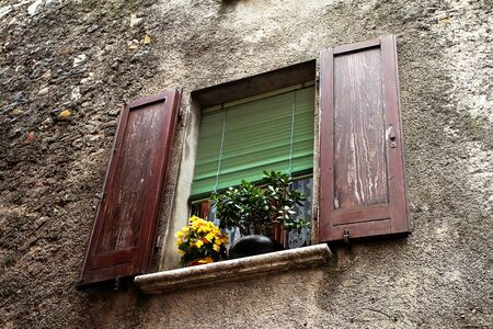 Typical decorated  window in North of Italy