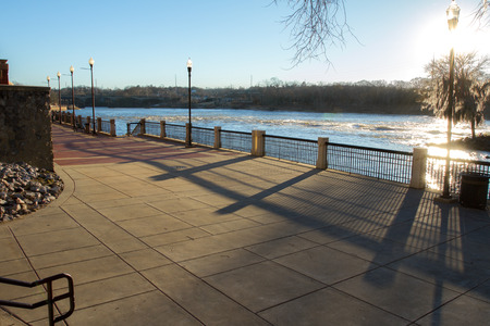 the boardwalk in Columbus GA next to Chattahoochee river
