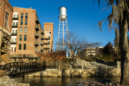 ga: The old Eagle  Phenix Mills Water Tower next to chattahoochee river at Columbus GA