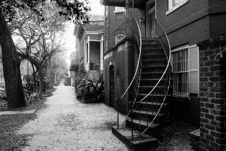 Typical street at Sahannah historic district Stock Photo