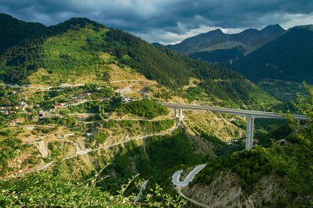 Highway E90 below Metsovo Stock Photo