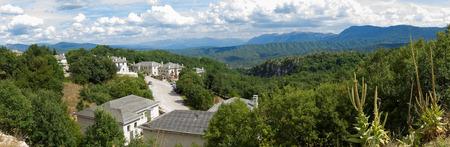 Panorama view of Monodendri, a small vilage in Zagoria, north of Greece Stock Photo