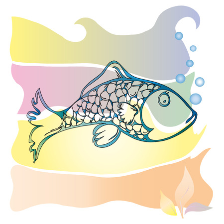 The drawing of edible marine fish floating among the seaweed   Vector