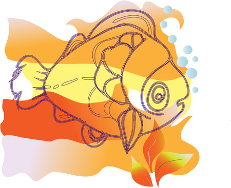 Vector image sad marine fish floating near the surface of the sea gladim  Vector