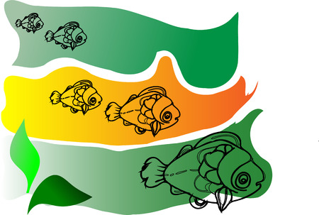 Vector image of the five marine fish floating in search of succulent plants  Vector