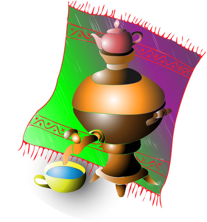 russian food: This vector image samovar with a Cup of tea on the background of the carpet Illustration