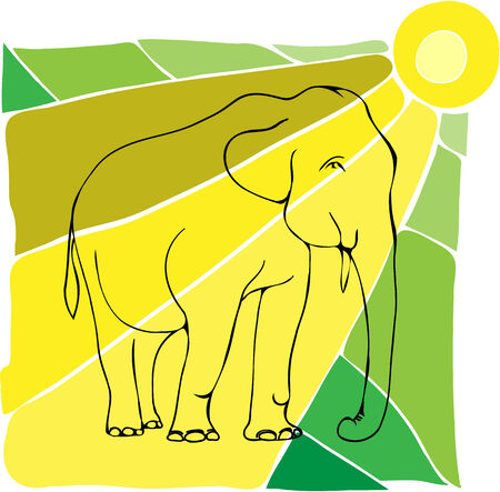 national parks: This vector image of an elephant  He walks in sunny weather