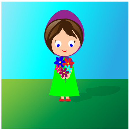 Little cute girl in dress holding a bouquet of wild flowers Çizim