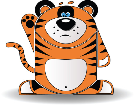 Vector image. A cartoon illustration of a tiger cub with a goofy expression. Vector