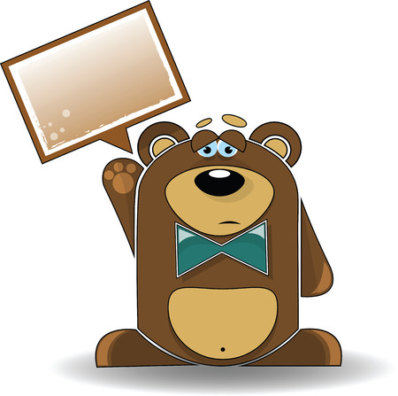 Cartoon illustration of a sad bear with a white sign. Vectores