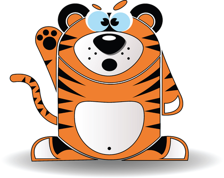 Vector image. Cartoon illustration of a tiger with a angered expression.