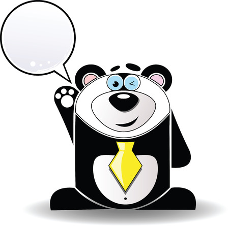 Vector image. Cartoon illustration of funny panda with a white sign. Vector