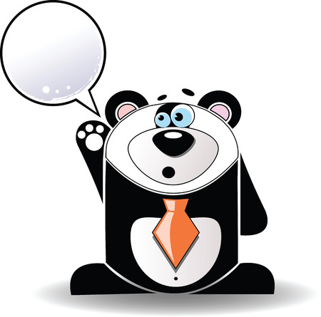 Vector image. Cartoon illustration of talking panda with a white sign. Vector