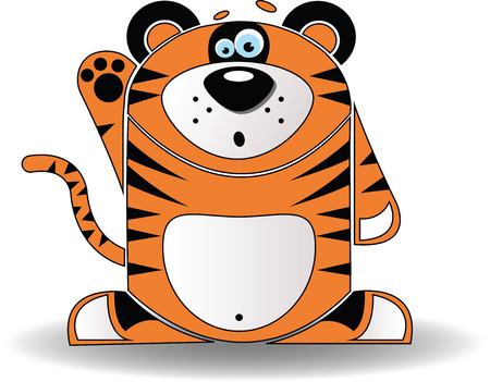 purring: Vector image. Cartoon illustration of a tiger a looking surprised. Illustration