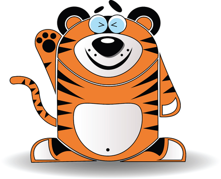 Vector image. Cartoon illustration of a tiger with a happy expression. Vector
