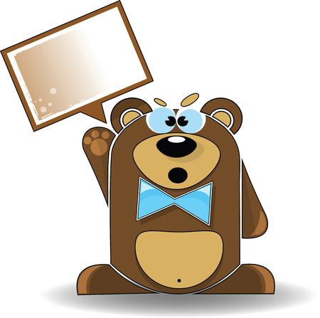kodiak: Vector de imagen. Ilustraci�n de dibujos animados de oso enojado con un signo de blanco. Vectores