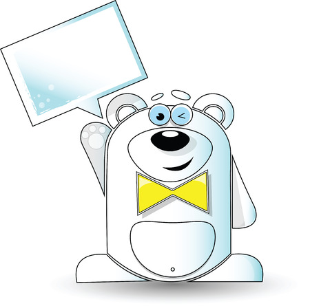 Vector image. Cartoon illustration of funny polar bear with a white sign.