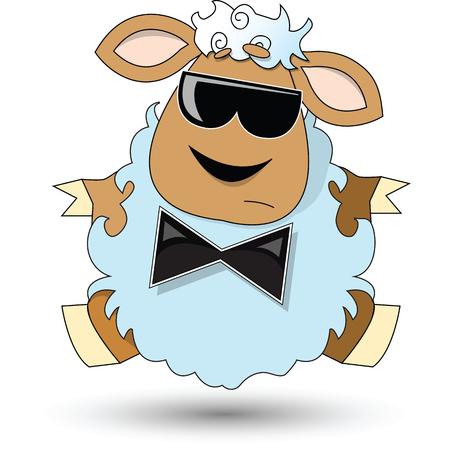 Vector image. Cartoon illustration of mysterious sheep. Vector