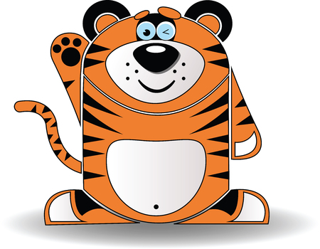 paw smart: Vector image. Cartoon illustration of a tiger with a sly expression.