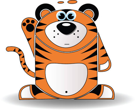 Vector image. Cartoon illustration of a tiger with a surprised expression. Vector
