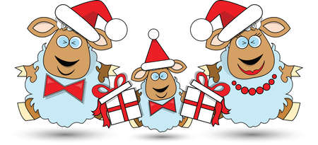 Vector illustration. Christmas family lambs and new year elements. Vector