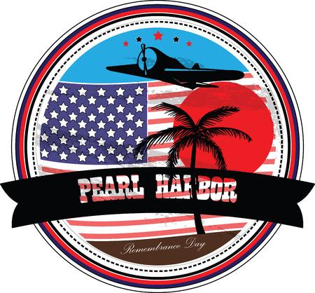 remembrance day: Illustrazione vettoriale. Grunge timbro di gomma con il testo Pearl Harbor Remembrance Day scritto dentro.