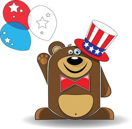 declaration of independence: Vector image. Illustration of bear celebrates Independence Day.