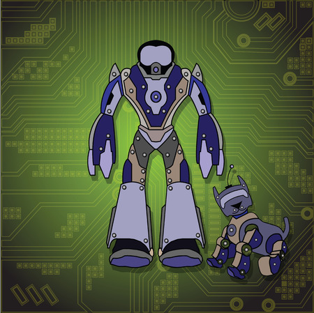 Vector image. Robot man with his remote controlled pet dog. Vector