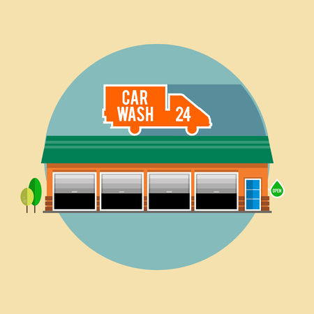 Car wash with a green roof for passenger cars, the facade of the building. Flat style illustrations or icons. Vector