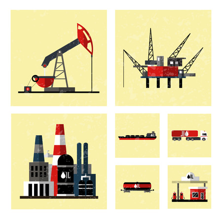 mining ship: Oil industry icon set. Isolated on white computers icon.