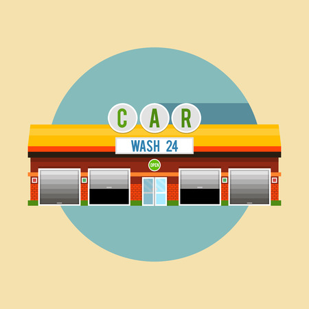 Car wash with yellow roof, the facade of the building. Flat style illustrations or icons.