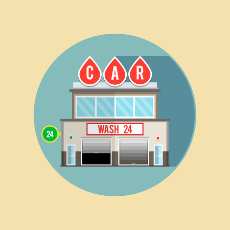 openly: Car wash for cars, the facade of the building. Flat style illustrations or icons.