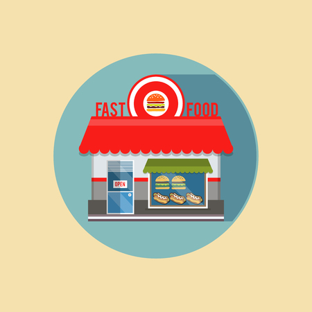 exposed: modern flat design square architecture web icon on retro style local store fast food grey facade with awning and products, is exposed in the window