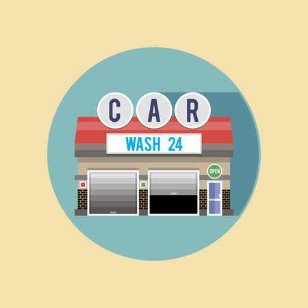 openly: Hour wash with a red roof, the facade of the building. Flat style illustrations or icons. Illustration