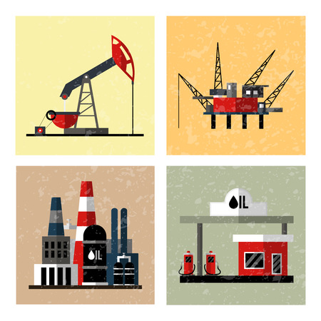 booty: Oil industry icon set. Isolated on white computers icon.