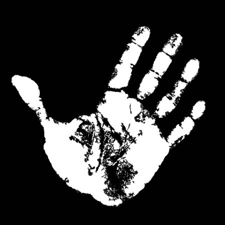Hand print on black background.  Vector
